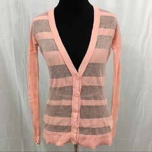 Old Navy peach semi sheer striped cardigan